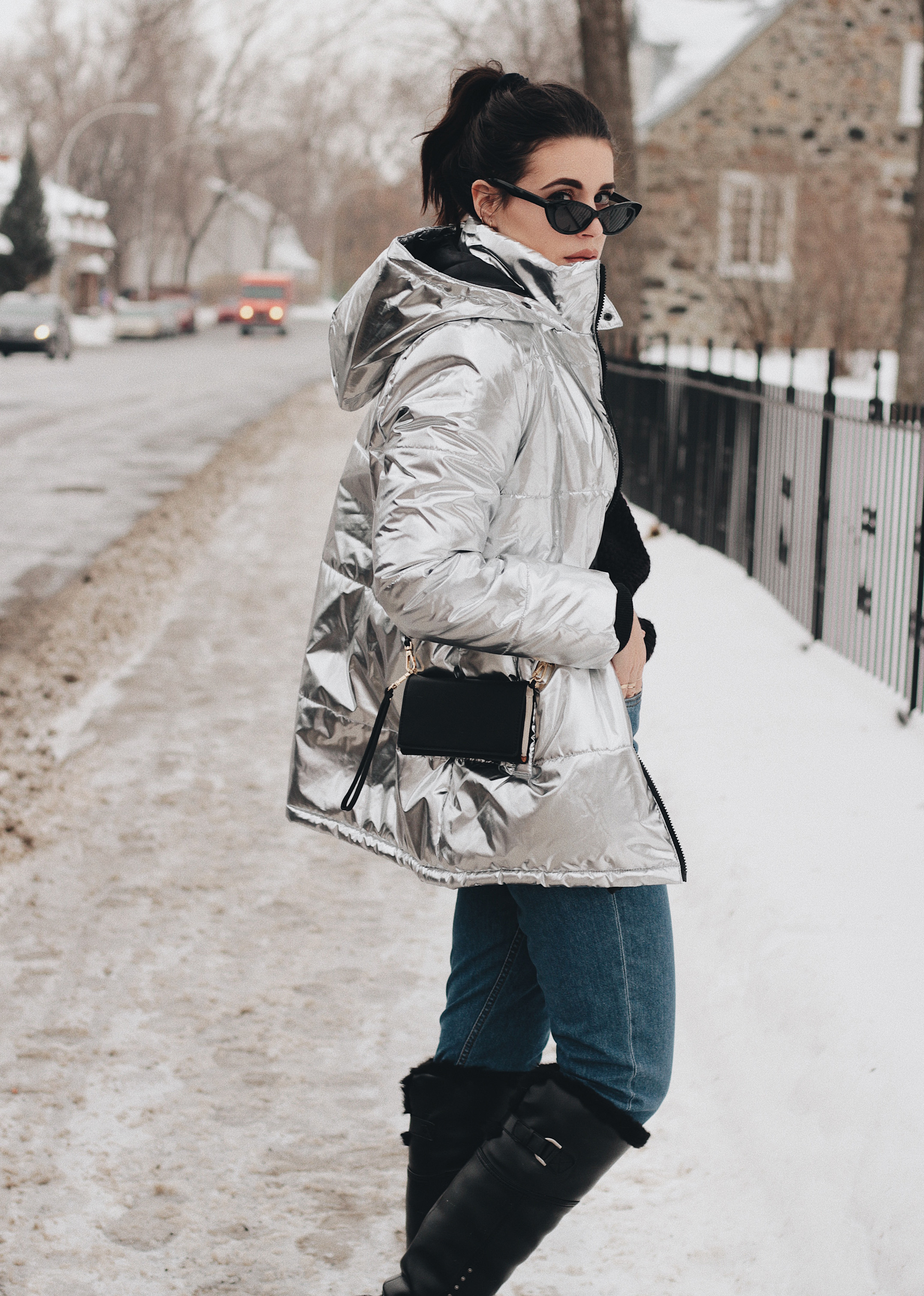 388b359ae4 Metallic puffer jacket  Forever21   Sunglasses  Asos   Boots  Blondo    Jeans  Only   Sweater  H M   Crossbody wallet bag  Zara
